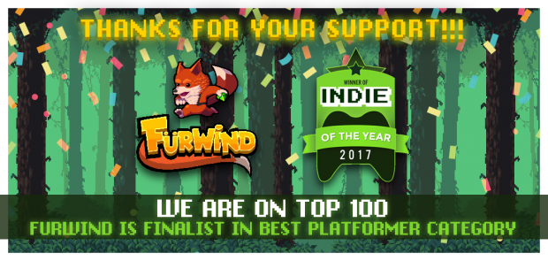 """Thanks to you all, we've enter on """"2017's Indie of the Year"""" Top 100!"""