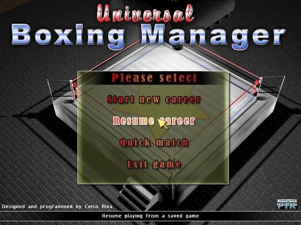 Universal Boxing Manager Mac Demo
