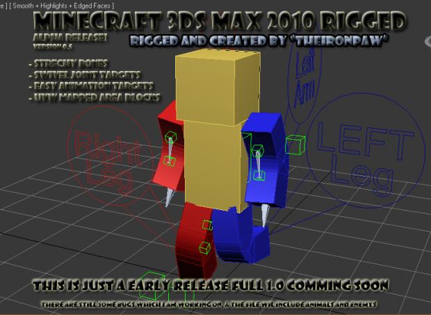 3ds Max Minecraft Human model rigged v0.5