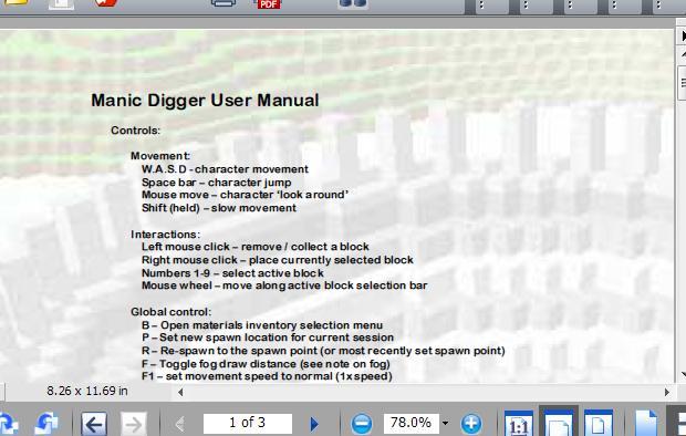 Manic Digger, Manual.