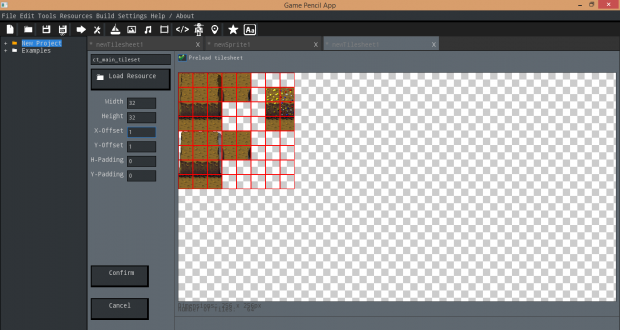 The working tilesheet editor