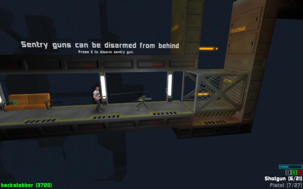 A sentry gun in tutorial