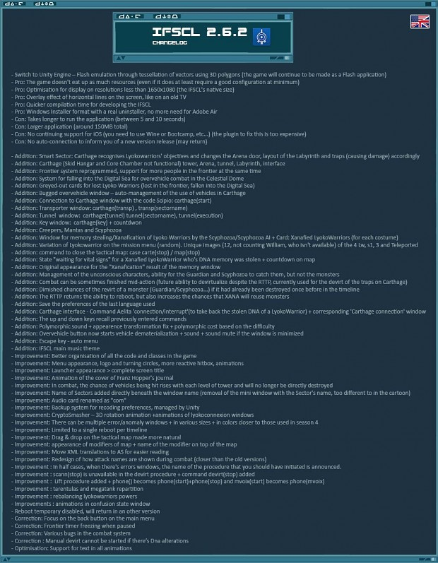 Changelog of IFSCL 2.6.2