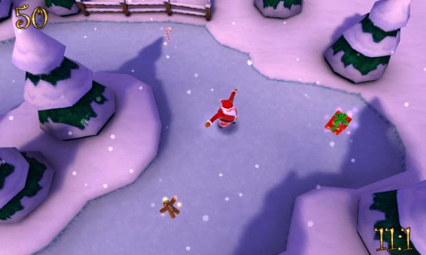 Santa's sliding the lake at noon