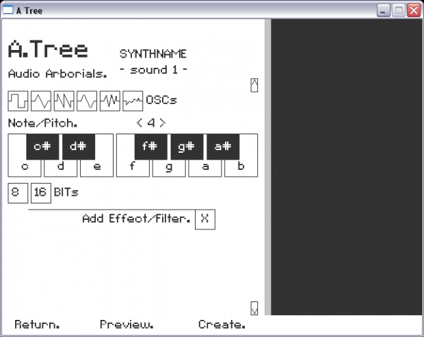Audio Tree synthesizer menu v.1