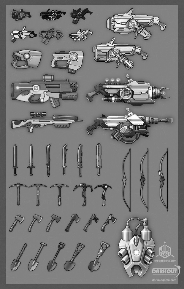 Game weapons concept sheet.