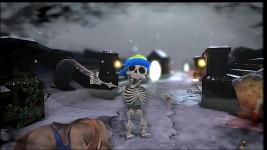 Skeleton dancing in the snow