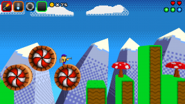 Smaller spinning platforms and mushrooms