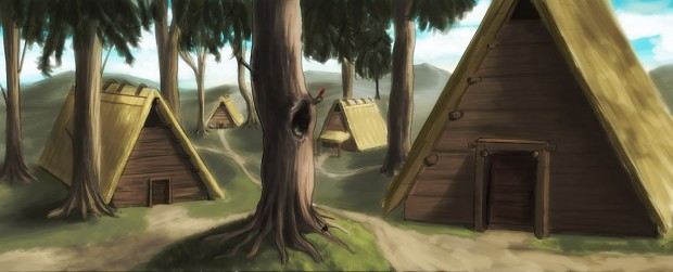 Concept art of Aura's hometown, a small primitive village completely isolated inside a space-time bubble.