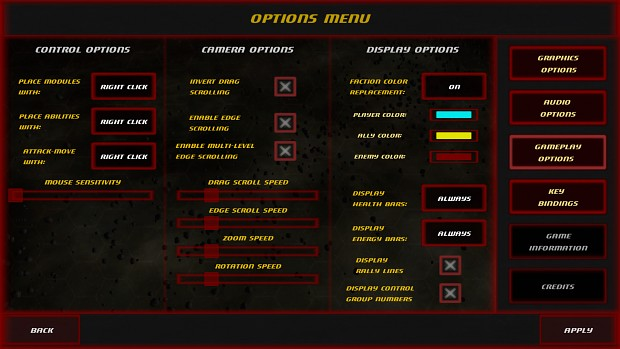 Gameplay Options Menu