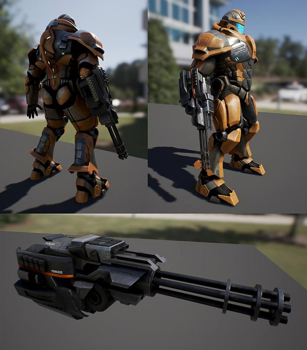 Battlesuit with minigun