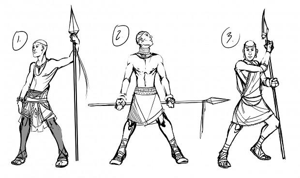 Concept sketches - Rhamka Tribal Hunter