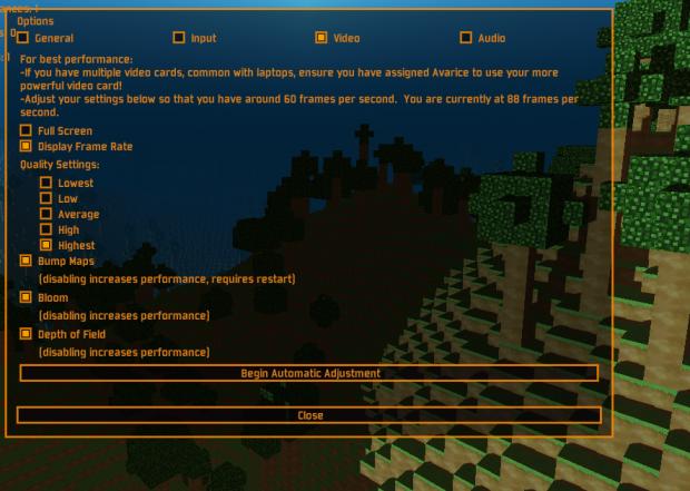 New Options Screen