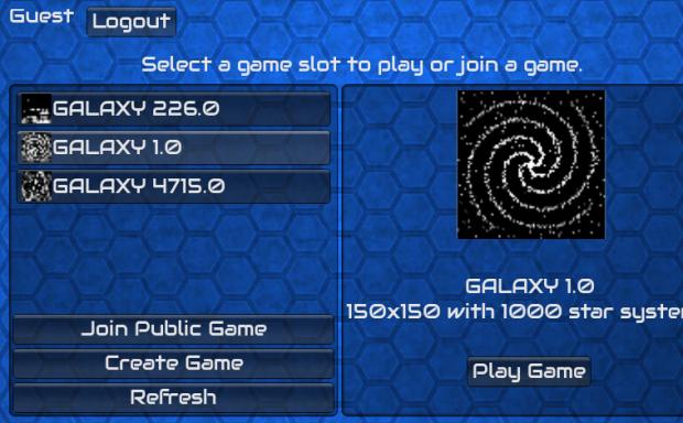 Galactic Usurper Game Selection Screen