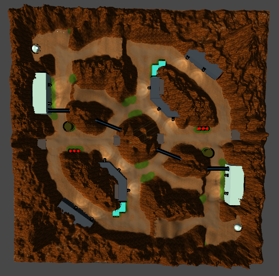 Top view of the concept of the Team VS Team map