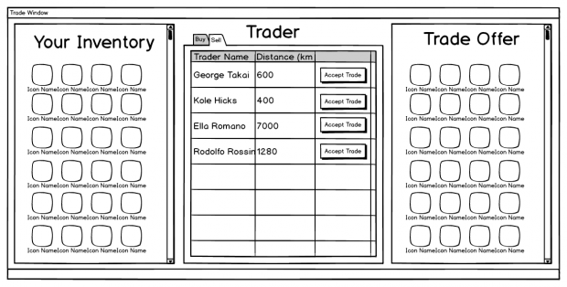 Trade screen wireframe mockups