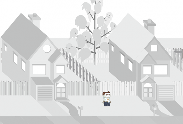Greyscale rendering of Harry in the 1st level