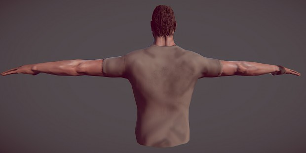 Back and front render of main character (WIP)