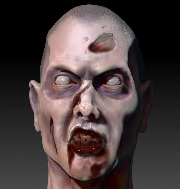 Rendered Zombie face