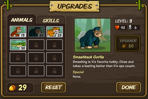 Upgrade preview for defense game Lumberwhack