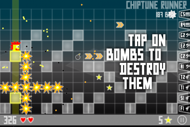 Chiptune Runner - Tap on bombs!