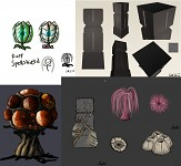 Early concept art for various objects