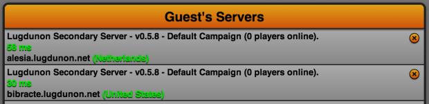 Server Listing Update