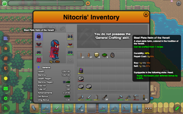Tools, Weapon, Equipment, and Crafting Durability
