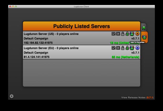 Public server listing