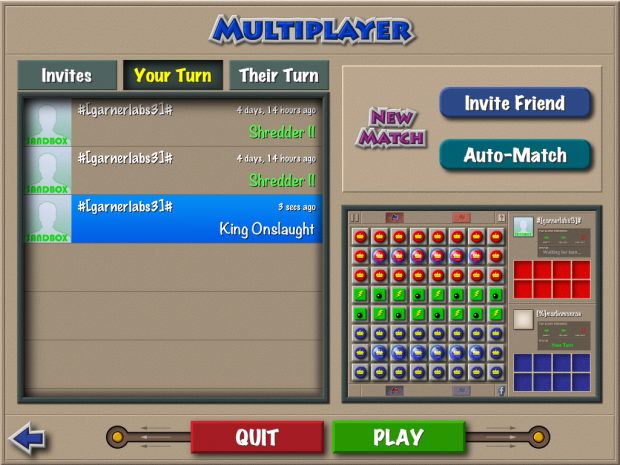 Multiplayer Play With Friends Screen