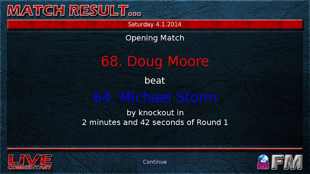 Boxing Manager Game - Match Results