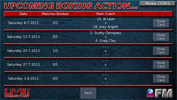 Boxing Manager Game - Upcoming Events
