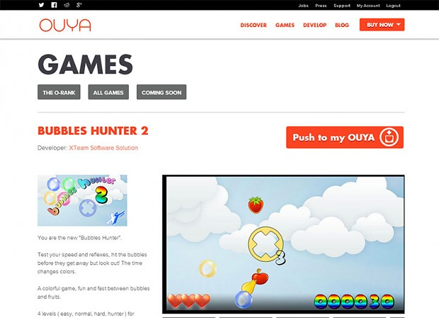 Bubbles Hunter 2 OUYA store