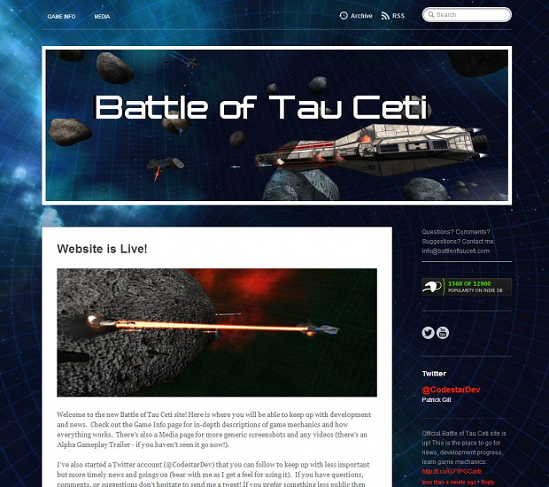 Website screenshot image battle of tau ceti indie db for Embed a forum into your website
