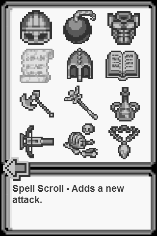 8-bit Battles items screen