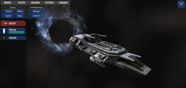 The new UI's command palette and ship list