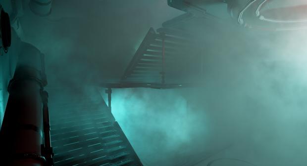 Smoke filling the ship