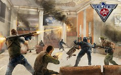 Illustration of an indoor fighting scene