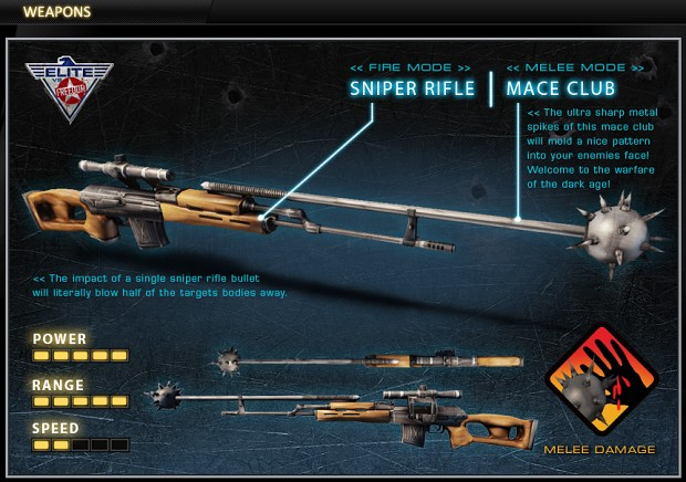 Sniper Rifle with Mace Club