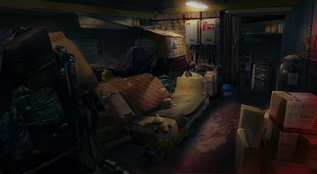 Homeless man's hideout concept art