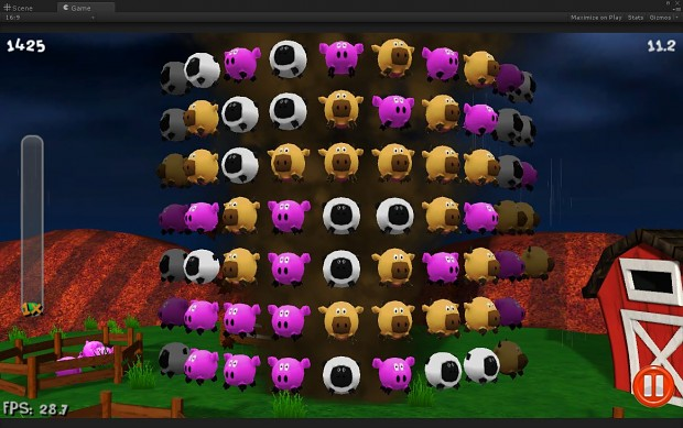 View of the gameplay board with the new cow asset