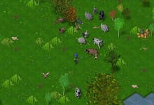 Screenshots of farm animals, merchant interface