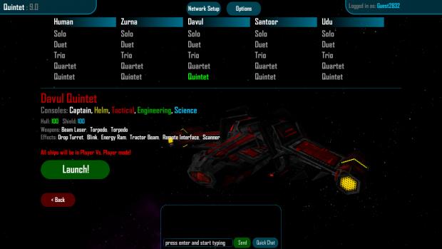 Ship Selection Menu