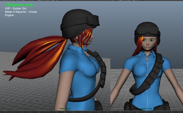 WIP character model from Maya