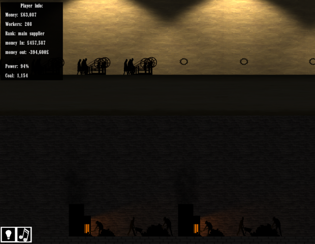 The bottom floor, suppling coal/power