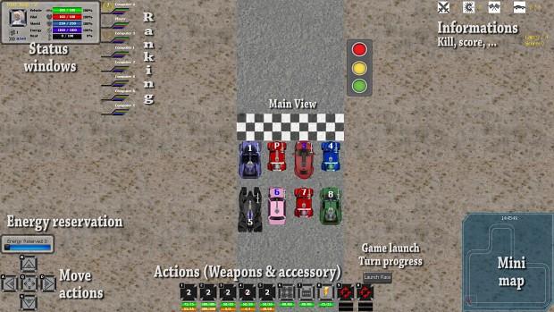 Screenshot of start of a race, v0.1.7.0