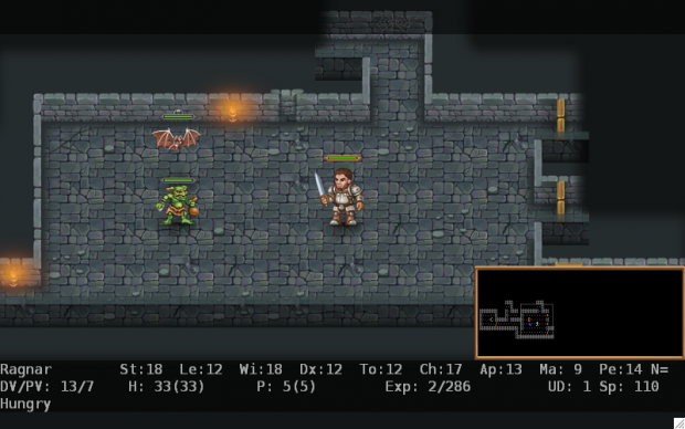 Screenshots from the ASCII and graphical versions