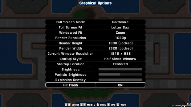 The Graphics Options Menu!