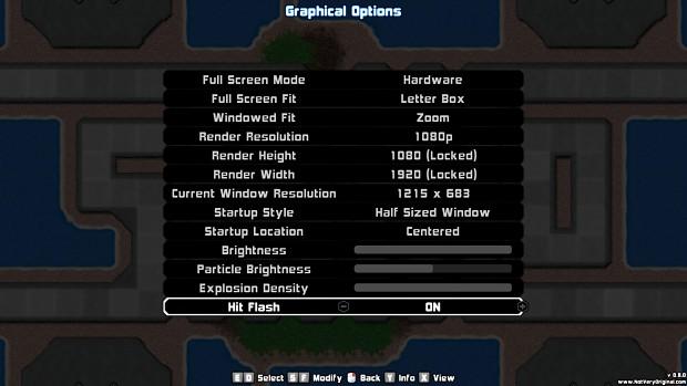The Graphics Options Menu!