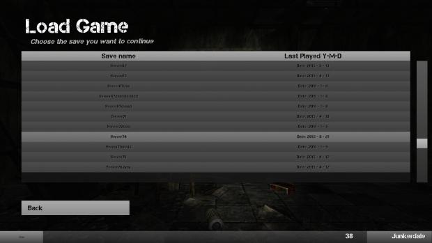 Load game menu